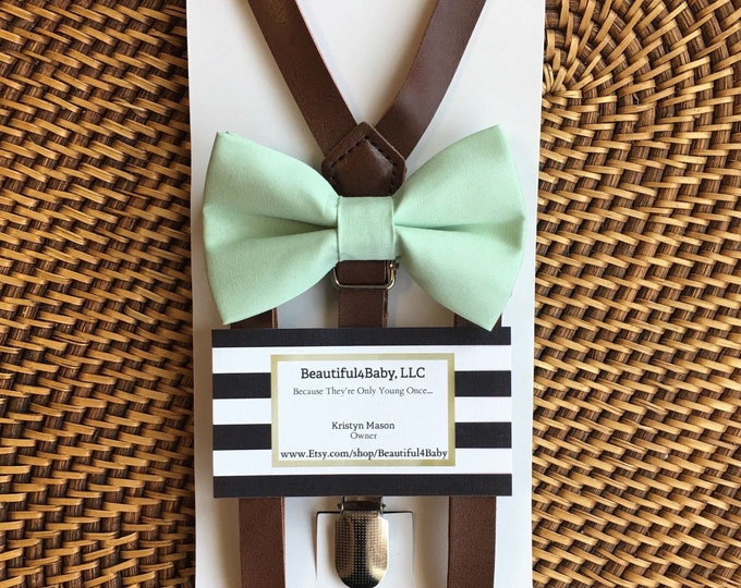 Mint Bow Tie & Leather Suspenders, Wedding Suspenders, Baby Bow Tie, Toddler Bow Tie, Leather Suspenders, Ring Bearer Outfit, Men's Bow Tie