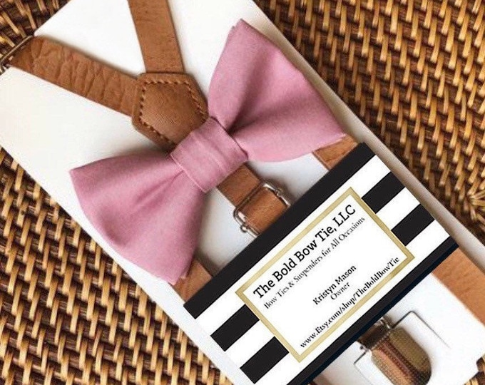 Dusty Rose Bow Tie, Mauve Bow Tie, Leather Suspenders, Wedding Suspenders, Ring Bearer Outfit, Groomsmen Suspenders, Mauve Bow Ties