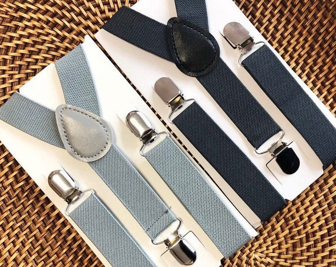 Gray Suspenders Baby Suspenders Ring Bearer Outfit Mens Suspenders Toddler Suspenders Kids Suspenders Birthday Outfit Page Boy Outfit