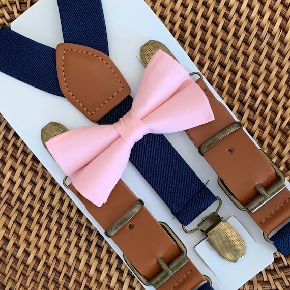 Pink Bow Tie & Navy Blue Buckle Suspenders, Pink Bow Tie for Men, Leather Suspenders, Boys Pink Bow Tie, Baby Bow Tie, Toddler Bow Tie
