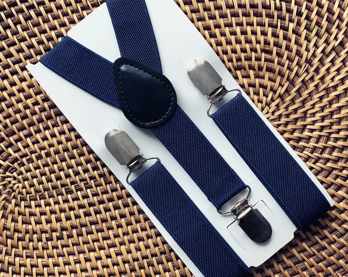 Navy Blue Suspenders -Baby, Mens, Wedding, Ring Bearer Outfit, Groomsmen, Page Boy, 1st Birthday, Cake Smash
