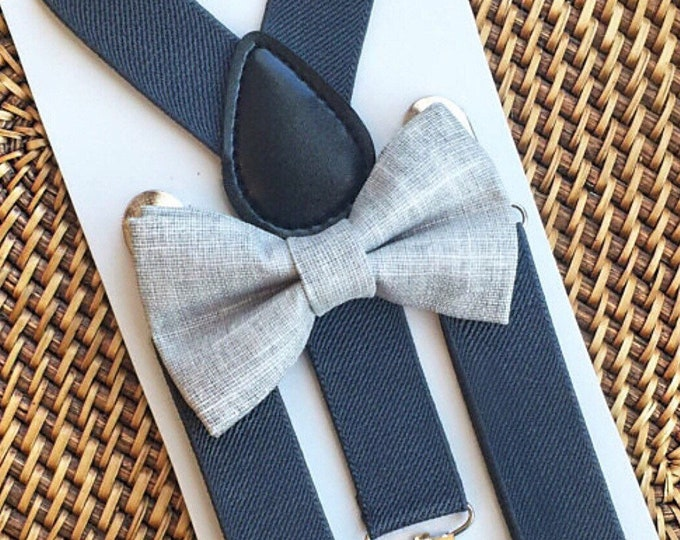 Grey Bow Tie & Suspender Set, Ring Bearer Outfit, Baby Bow Tie, Grey Baby Bow Tie, Grey Toddler Bow Tie, Bow Ties for Men, Rustic Wedding,