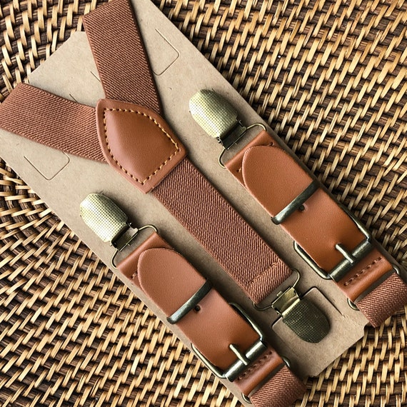 Brown Leather Buckle Suspenders- Groomsmen, Ring Bearer, Page Boy Outfit, Birthday, Cake Smash, Wedding, Gift for Men, Leather Suspenders