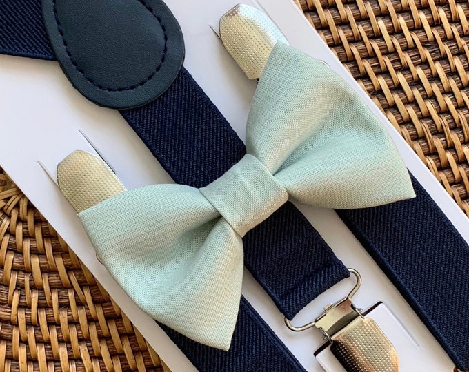 Sage Green Bow Tie & Navy Suspenders, Easter Bow Tie, Wedding, Green Bow Tie, Ring Bearer Outfit, Bow Ties, Bow Ties for Men, Babies, Boys