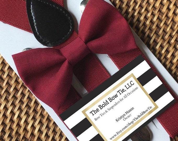 Bow Tie & Suspenders Set, Wine burgundy Bow Tie and Wine Suspenders, Kids Mens Baby Wedding Page Boy Set ALL SIZES