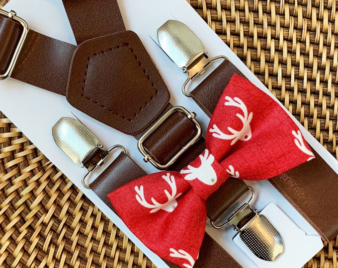 Red Christmas Bow Tie & Brown Faux Leather Suspenders, Toddler Bow Tie, Christmas Outfit, Boys Bow Tie, Baby Bow Tie, Suspenders, ALL SIZES
