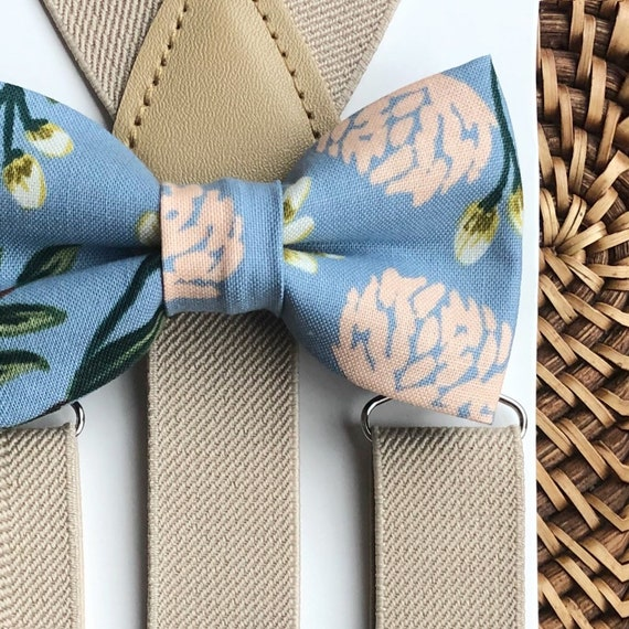 Floral Bow Tie, Dusty Blue Bow Tie, Khaki Suspenders, Boys Suspenders, Bow Ties for Boys, Ring Bearer Outfit, Bow Tie, Suspenders