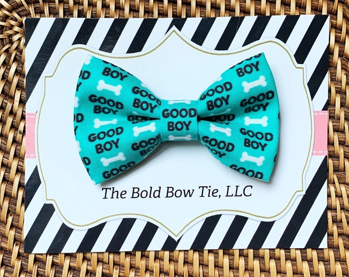 Good Boy Dog Bow Tie, Blue Green Bow Tie for Dogs, Cats, Bowtie, Bow Ties, Dog Bow Tie, Dog Accessories, Dog Birthday Gift, Dog Lover Gift