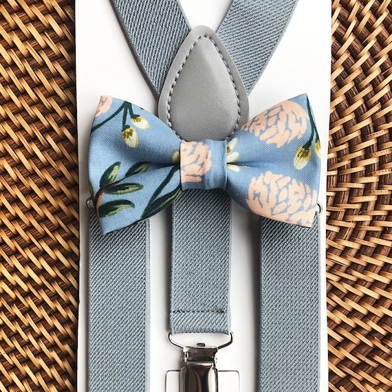 Bow Tie & Suspenders, Dusty Blue Bow Tie, Floral Bow Tie, Grey Suspenders, Wedding Suspenders, Ring Bearer Outfit,  Wedding Suspenders