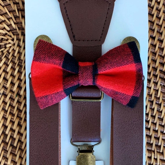 Buffalo Plaid Bow Tie & Leather Suspenders, Buffalo Check, Red Bow Tie, Christmas Outfit, Christmas Bow Tie, Mens Bow Tie, Bow Tie for Boys
