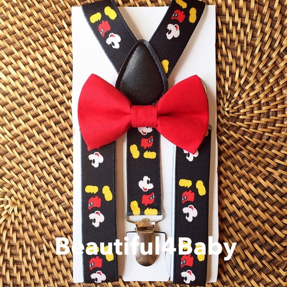 Mickey Mouse Suspenders & Bow Tie, Mickey Mouse Inspired, Mickey Suspenders, Mickey Mouse Cake Smash, Mickey Mouse Birthday, Mickey Bow Tie