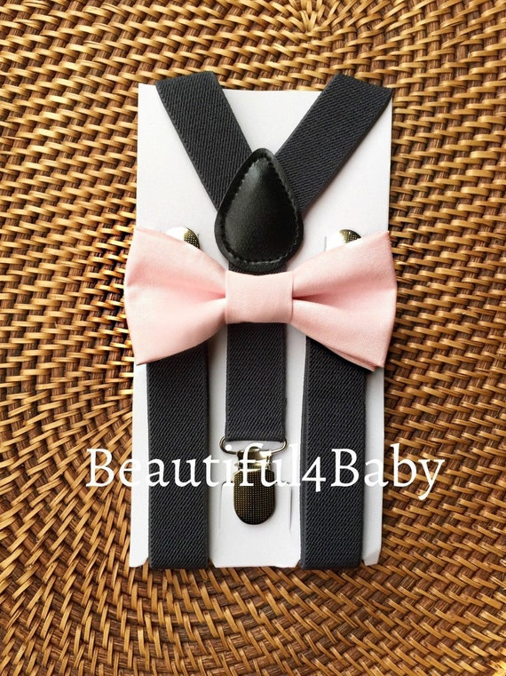 Pink Bow Tie & Gray Suspenders, Beach Wedding, Ring Bearer Outfit, Bow Ties for Men, Groomsmen Bow Ties, Mens Bow Ties, Suspenders, Bow Tie