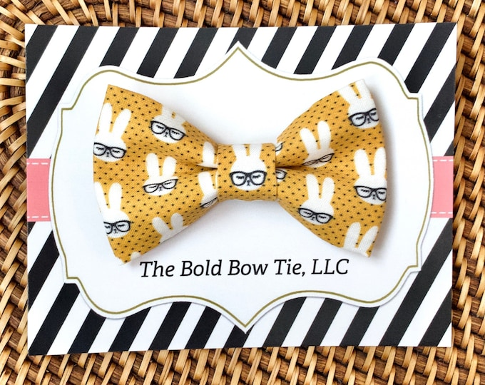 Bunny Rabbit Dog Bow Tie, Yellow Bow Tie for Dogs, Cats, Pets, Bowtie, Nerd Bow Ties, Dog Lover Gift, Dog Accessories, Dog Gift