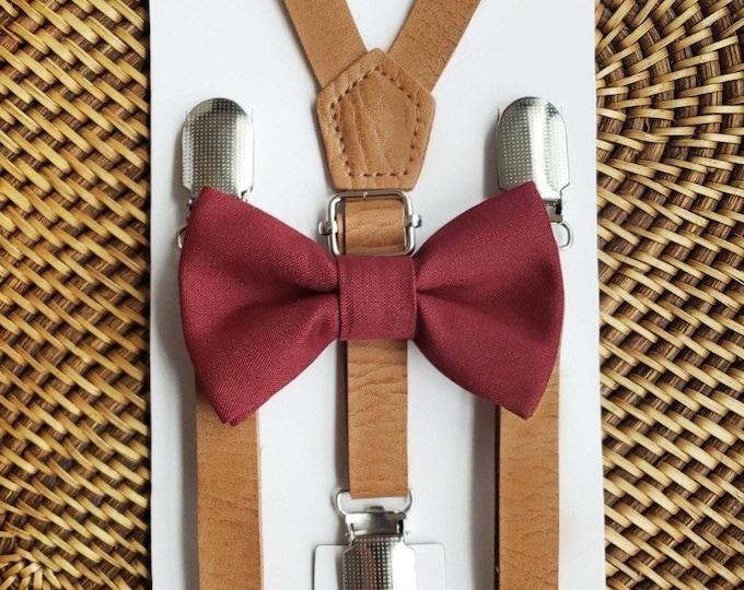 Burgundy Bow Tie & Leather Suspenders, Wine Bow Tie, Ring Bearer Outfit, Wedding Suspenders, Mens Suspenders, Rustic Wedding