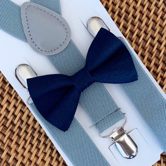 Navy Blue Bow Tie & Gray Suspenders, Navy Bow Tie, Navy Toddler Bow Tie, Navy Ring Bearer Outfit, Mens Bow Ties,  Ring Bearer Outfit,Bow tie