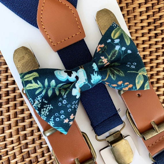 Rifle Paper Co Bow Tie & Navy Blue Suspenders, Floral Bow Tie, Bow Ties for Men, Boys Bow Tie, Ring Bearer Outfit, Navy Blue Bow Ties