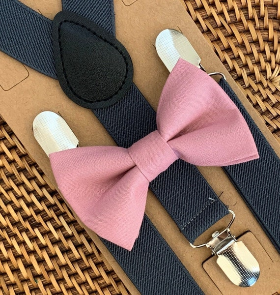 Dusty Rose Bow Tie, Pink Bow Tie, Gray Suspenders, Baby Suspenders, Ring Bearer Outfit, Boys Suspenders, Wedding, Bow Ties