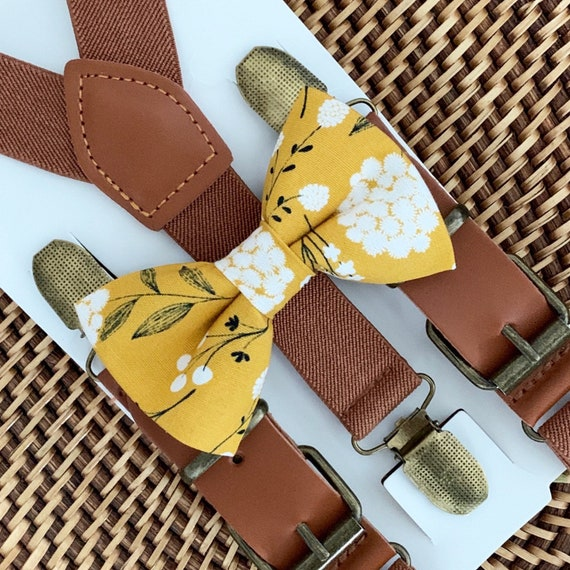 Mustard Floral Bow Tie & Brown Leather Suspenders Mustard Bow Tie Burgundy Suspenders Wedding Suspenders Ring Bearer Outfit
