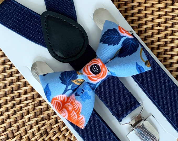 Blue Floral Bow Tie & Navy Blue Suspenders Navy Toddler Bow Tie Navy Ring Bearer Outfit Mens Bow Ties Ring Bearer Outfit Kids Suspenders