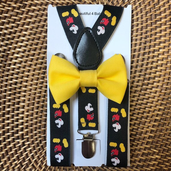 Mickey Mouse Suspenders and Bow Tie, Mickey Inspired, Mickey Mouse Suspenders, Mickey Mouse Birthday, Mickey Birthday, Disney Wedding