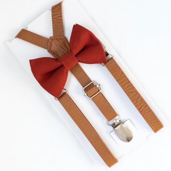 Bow Tie & Leather Suspenders, Bow Ties, Burnt Orange Bow Tie, Wedding Suspenders, Groomsmen Suspenders, Toddler Bow Ties, Ring Bearer Outfit