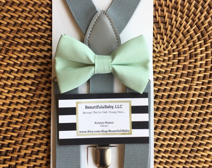 Mint Bow Tie and Gray Suspenders, Beach Wedding, Mint Green Bow Tie, Mint Ring Bearer Outfit,, Mint Mens Bow Tie, Bow Ties, Suspenders