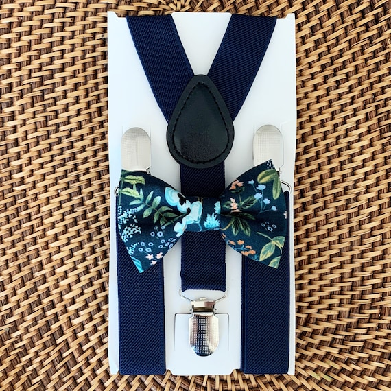 Rifle Paper Co Bow Tie & Navy Blue Suspenders Floral Bow Tie Kids Suspenders Ring Bearer Outfit Wedding Rustic Wedding 1st Birthday Outfit