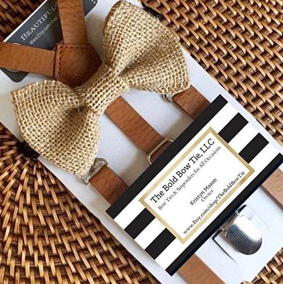 Burlap Bow Tie  & Suspender Set, Burlap Ring Bearer Bow Tie, Burlap Toddler Bow Tie, Burlap Wedding, Rustic Wedding, Rustic Suspenders