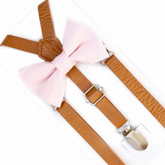 Blush Bow Tie, Blush Pink Bow Tie, Pink Bow Tie, Wedding Suspenders, Blush Pink Bow Tie and Brown Leather Suspender Set