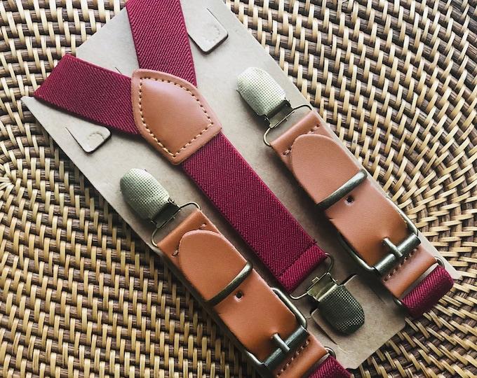 Leather Suspenders, Burgundy Suspenders, Buckle Suspenders, Ring Bearer Outfit, Wedding, Groomsmen, Mens Suspenders, All Sizes!