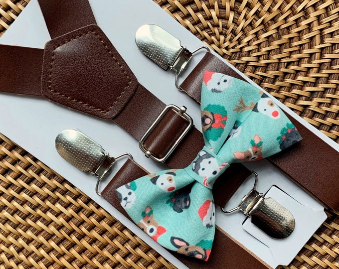 Christmas Dogs Bow Tie & Vegan Leather Suspenders Christmas Outfit for Boys Suspenders Holiday Bow Tie Christmas Photos Baby Bow Tie for Men