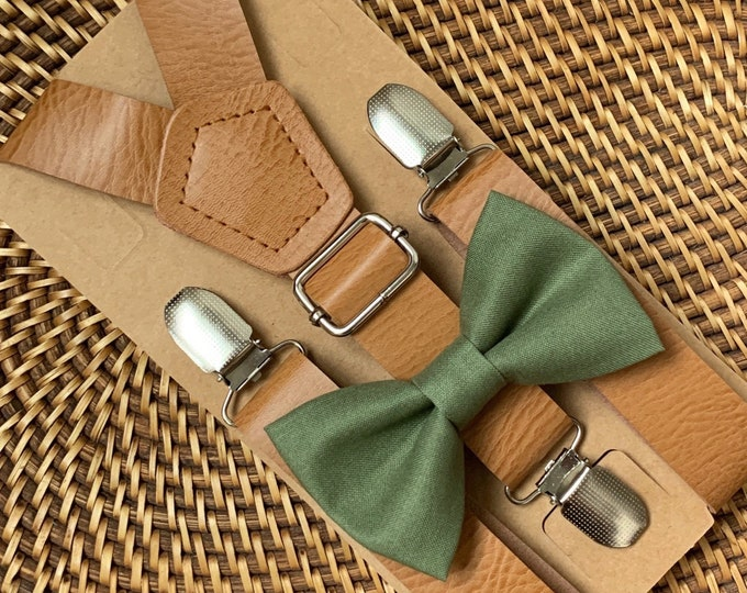 Olive Green Bow Tie & Vegan Leather Suspenders, Wedding Suspenders, Boho Wedding, Mens Bow Ties, Ring Bearer Outfit, Boys Bow Ties,ALL SIZES