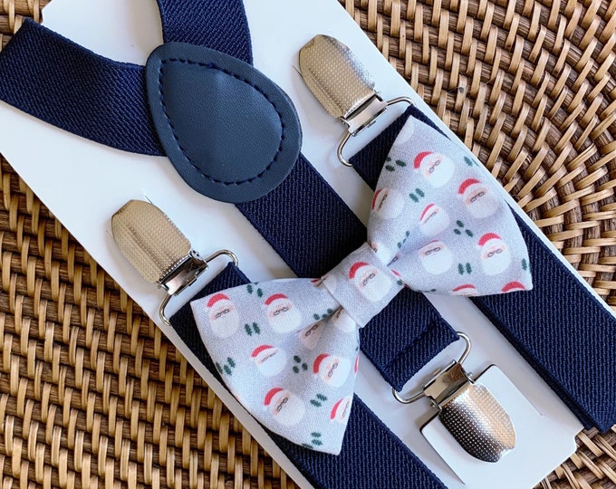 Santa Bow Tie & Navy Blue Suspenders, Suspenders, Bow Tie for Men, Women, Kids, Boys, Christmas Outfit — ALL SIZES