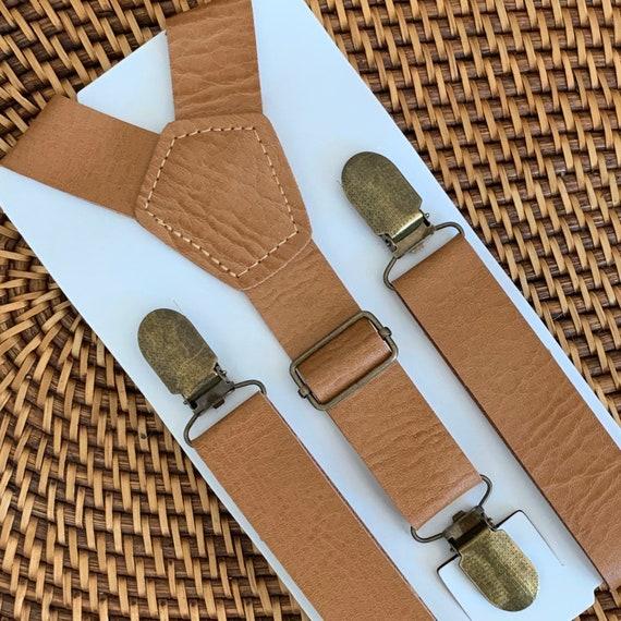 Leather Suspenders, Brown Suspenders, Mens Suspenders, Boys Suspenders, Rustic Suspenders, Rustic Wedding, Cognac Suspenders, Suspenders