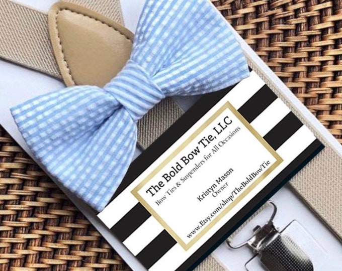 Seersucker Bow Tie, Light Blue Bow Tie, Blue Striped Bow Tie, Easter Bow Tie, Beach Wedding, Light Blue Seersucker Bow Tie, Toddler Bow Tie