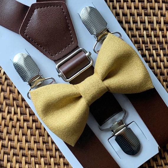 Gold Bow Tie & Leather Suspenders, Gold Bow Ties, Mens Bow Tie, Rustic Wedding, Mens Suspenders, Brown Suspenders, Ring Bearer Outfit