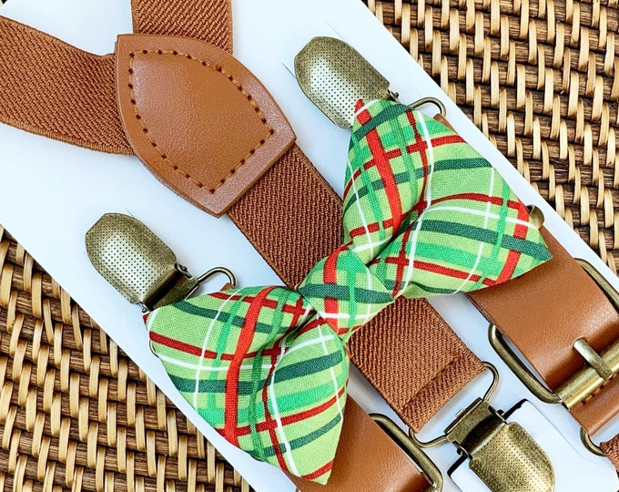 Red and Green Bow Tie & Brown Faux Leather Suspenders, First Christmas Outfit, Bow tie for Men, Women, Boys, Girls, Toddlers, ALL AGES