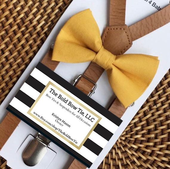Mustard Bow Tie & Leather Suspenders, Mens Bow Ties, Wedding Suspenders, Toddler Suspenders, Groomsmen Suspenders, Ring Bearer Outfit