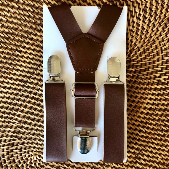 Leather Suspenders, Brown Leather Suspenders, Mens Suspenders, Groomsmen Suspenders,  Boys Suspenders, Rustic Suspenders, Rustic Wedding