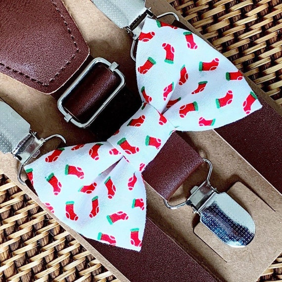 Christmas Bow Tie & Leather Suspenders Christmas Outfit for Boys Suspenders Holiday Bow Tie Christmas Photos Baby Bow Tie for Men