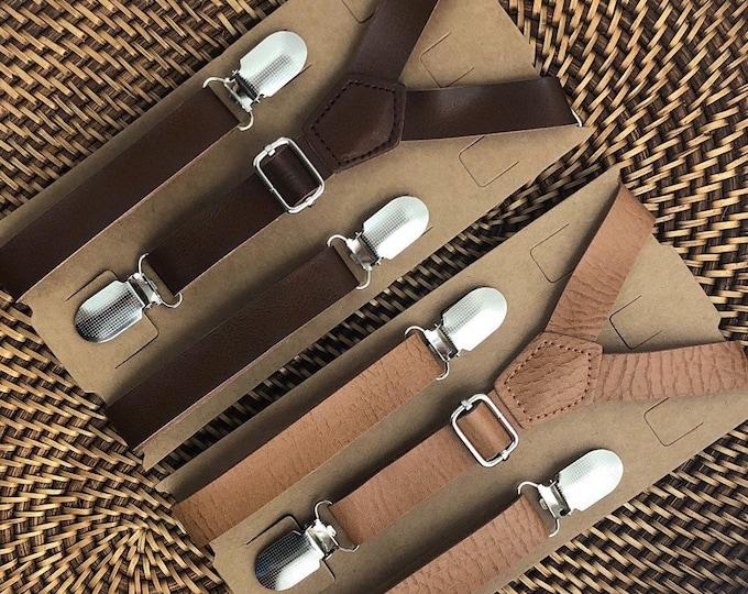 Wedding Suspenders, Leather Suspenders, Mens Suspenders, Groomsmen, Boys Suspenders, Rustic Suspenders, Rustic Wedding, Cognac Suspenders