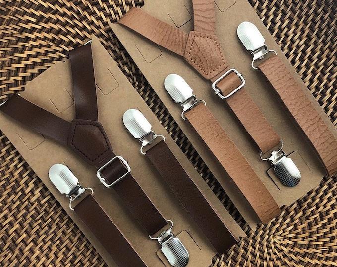 Brown Suspenders for Men Vintage Suspenders for Boys Groomsmen Brown Leather Suspenders Rustic Wedding Ring Bearer Outfit Kids Suspenders
