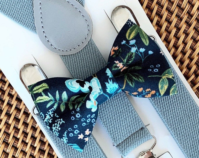 Rifle Paper Co Bow Tie & Gray Suspenders, Wedding Bow Ties, Floral Bow Tie, Wedding Suspenders, Ring Bearer Outfit, Bow ties, Suspenders