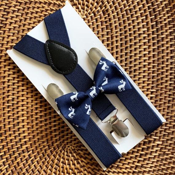 Christmas Bow Tie & Navy Blue Suspenders, Reindeer Bow Tie, Navy Blue Bow Tie, Baby Bow Tie, Boys Bow Tie, Bow Tie for Men, Suspenders