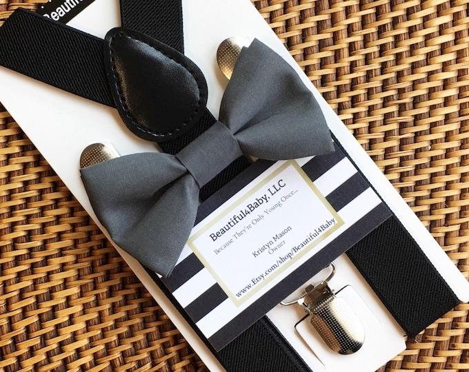 Gray Bow Tie, Black Suspenders, Baby Bow Tie, Gray Baby Bow Tie, Gray Toddler Bow Tie, Ring Bearer Outfit, Toddler Suspenders, Bow Ties