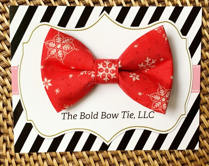 Red Snowflake Dog Bow Tie, Bow Tie for Dogs, Cats, Pets, Bowtie, Bow Ties, Christmas Dog Bow Tie, Christmas Bow Tie, For Cat for Dog for Pet
