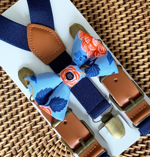 Blue Floral Bow Tie & Navy Blue Suspenders Leather Suspenders Navy Ring Bearer Outfit Bow Ties Ring Bearer Outfit Kids Suspenders Bow Ties