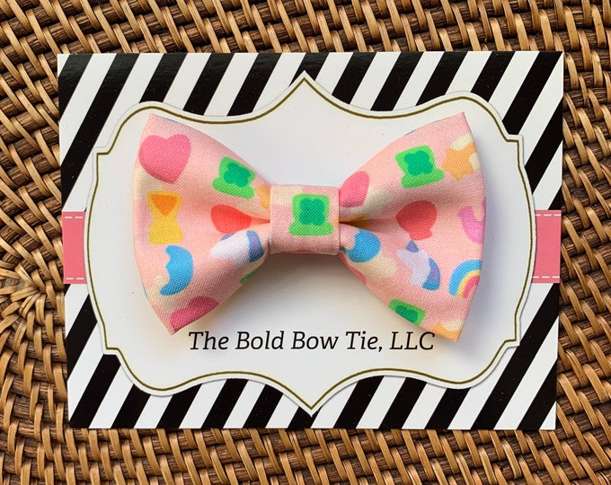 St. Patrick's Day Dog Bow Tie, Lucky Charms Inspired Bow Tie for Dogs, Cats, Pets, Pink Dog Bow Tie, Dog Bow Tie, Dog Accessories, Dog Lover