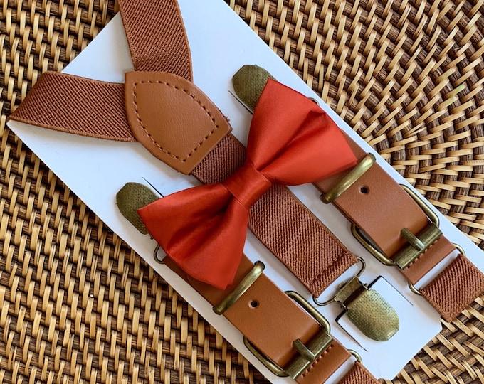 Burnt Orange Bow Tie, Rust Bow Tie, Orange Bow Tie, Toddler Bow Tie, Dark Orange Bow Tie, Rustic Wedding, Fall Suspenders and Bowtie Set