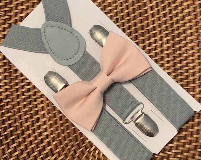 Blush Bow Tie & Grey Suspenders, Wedding, Groomsmen, Ring Bearer Outfit, Blush Toddler Bow Tie, Ring Bearer Outfit, Blush Pink Bow Tie